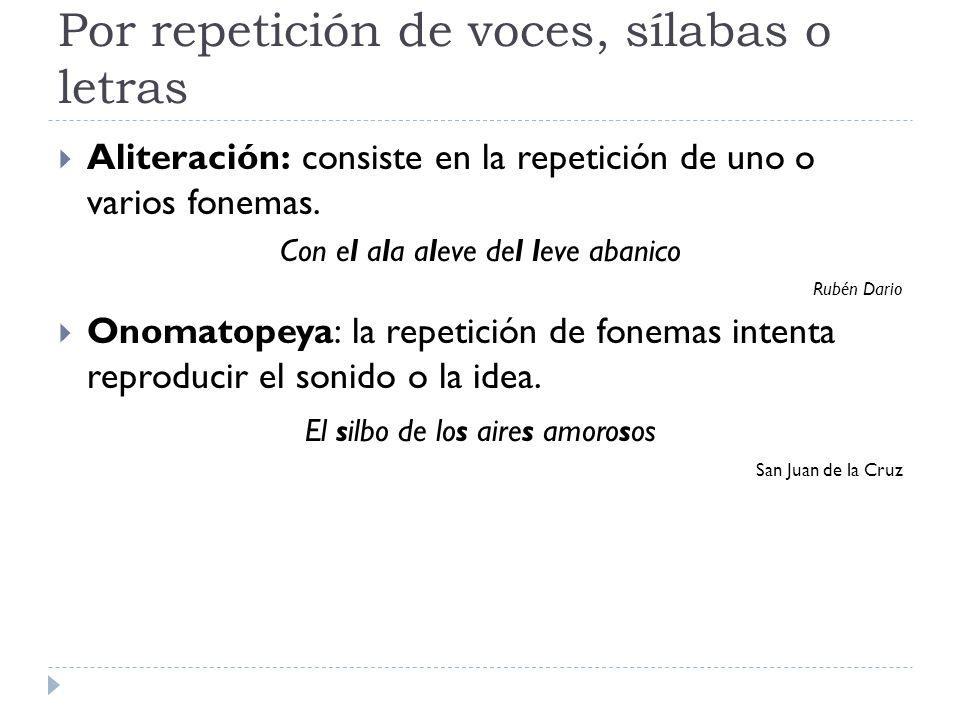 Por repetición de voces, sílabas o letras