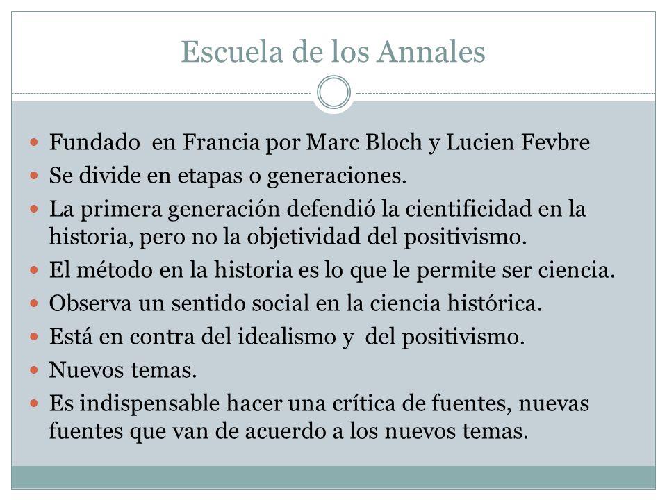 Escuela de los Annales Fundado en Francia por Marc Bloch y Lucien Fevbre. Se divide en etapas o generaciones.