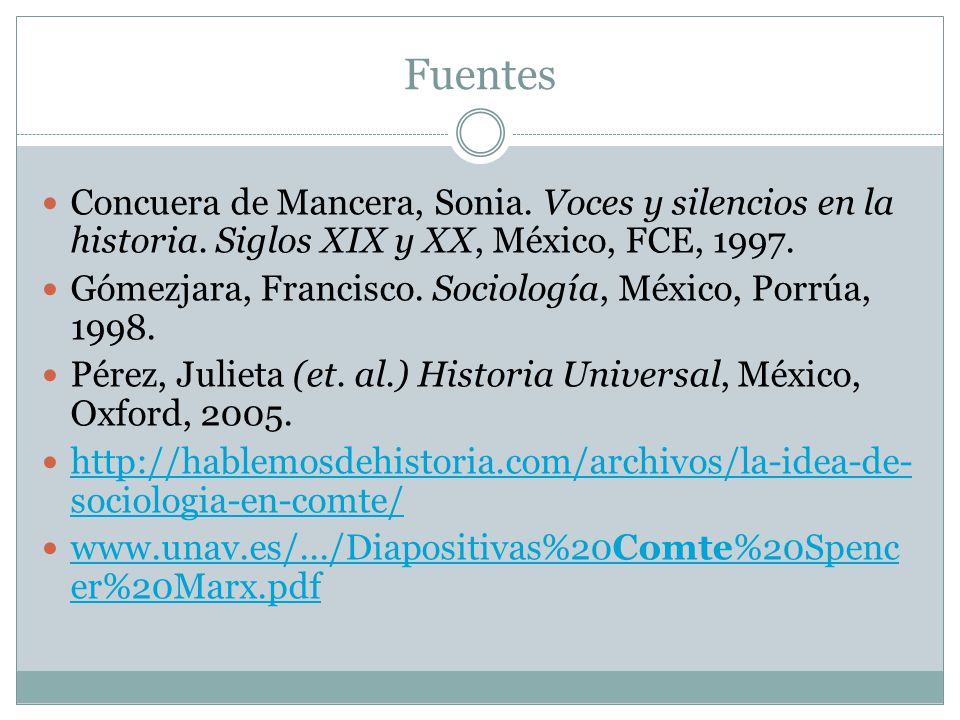 Fuentes Concuera de Mancera, Sonia. Voces y silencios en la historia. Siglos XIX y XX, México, FCE, 1997.