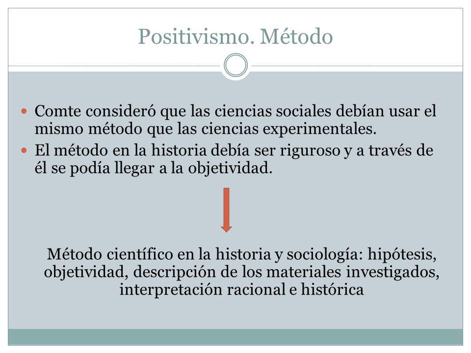 Positivismo. Método Comte consideró que las ciencias sociales debían usar el mismo método que las ciencias experimentales.