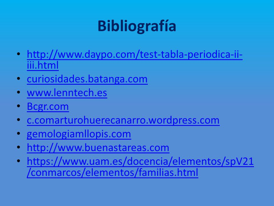 Tabla periodica en html gallery periodic table and sample with por ma paz alvarado juan s barahona y ma paula cortez ppt bibliografa httpdaypotest tabla periodica urtaz Choice Image