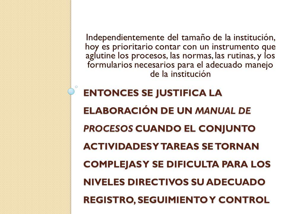 Independientemente del tamaño de la institución, hoy es prioritario contar con un instrumento que aglutine los procesos, las normas, las rutinas, y los formularios necesarios para el adecuado manejo de la institución