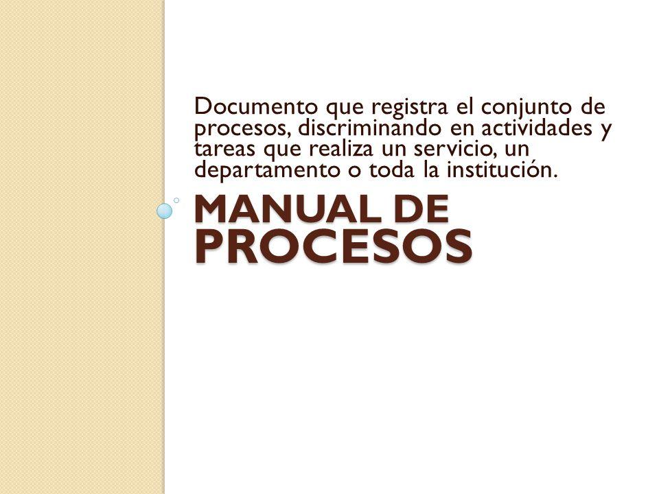 Documento que registra el conjunto de procesos, discriminando en actividades y tareas que realiza un servicio, un departamento o toda la institución.