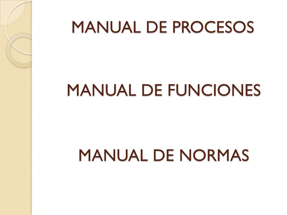 MANUAL DE PROCESOS MANUAL DE FUNCIONES MANUAL DE NORMAS