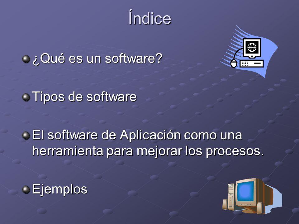 Índice ¿Qué es un software Tipos de software
