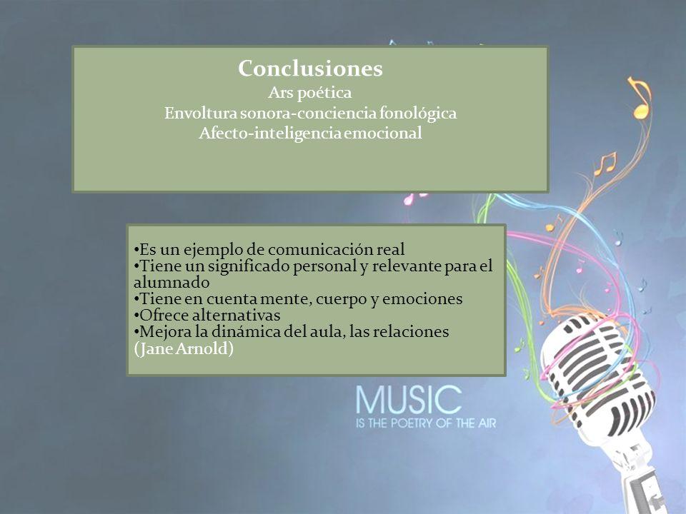 Conclusiones Ars poética Envoltura sonora-conciencia fonológica