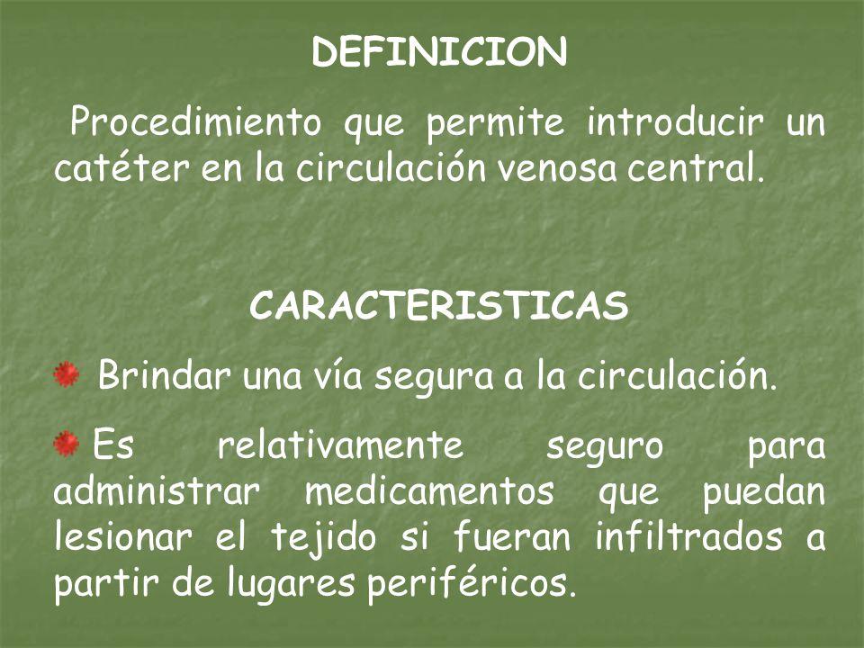 DEFINICION Procedimiento que permite introducir un catéter en la circulación venosa central. CARACTERISTICAS.