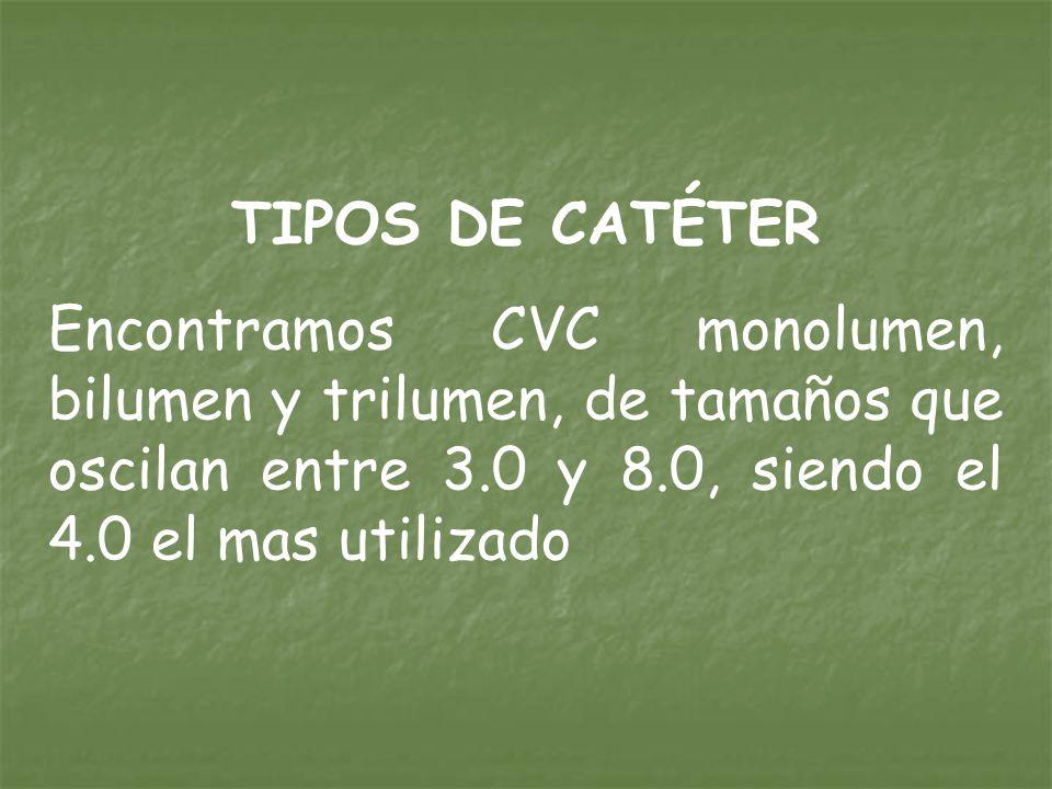 TIPOS DE CATÉTER Encontramos CVC monolumen, bilumen y trilumen, de tamaños que oscilan entre 3.0 y 8.0, siendo el 4.0 el mas utilizado.