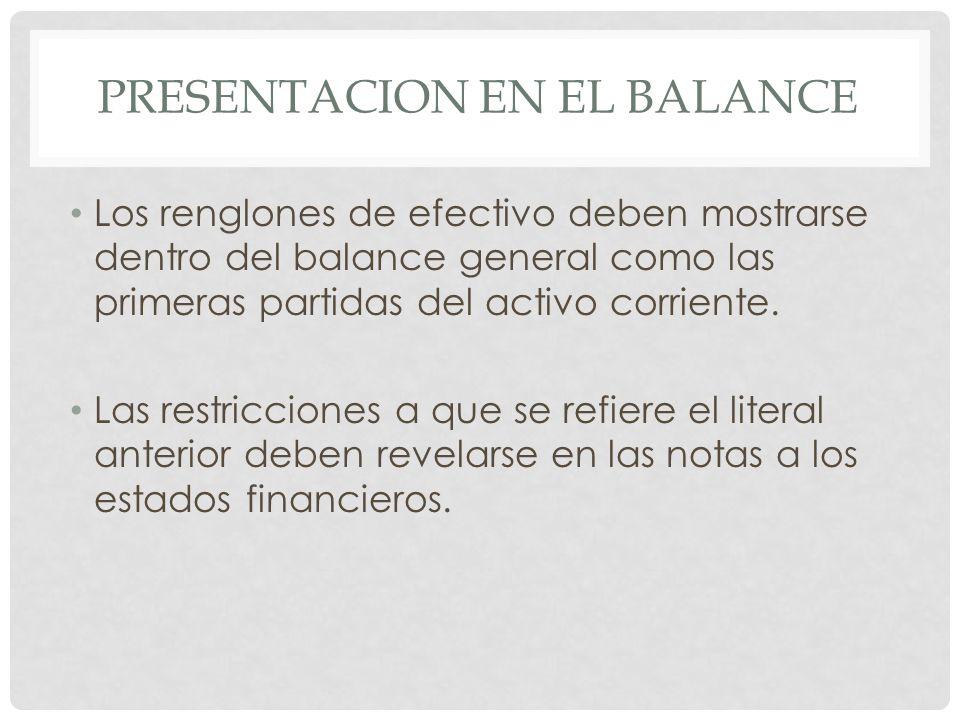 PRESENTACION EN EL BALANCE