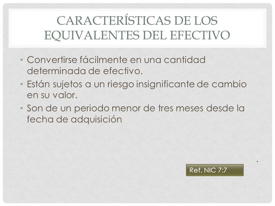Características de los equivalentes del efectivo
