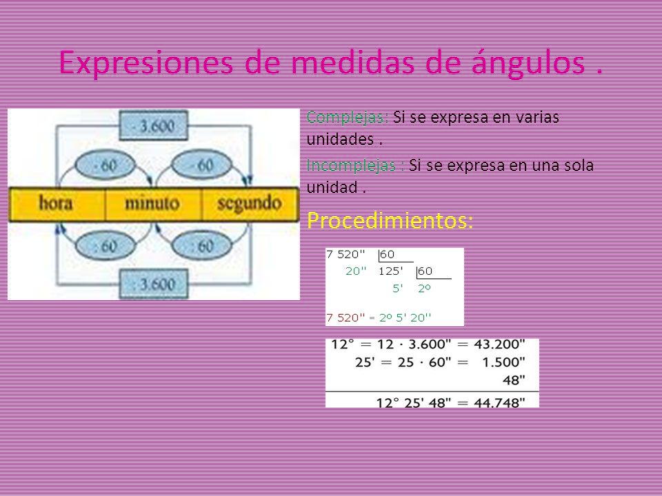 Expresiones de medidas de ángulos .