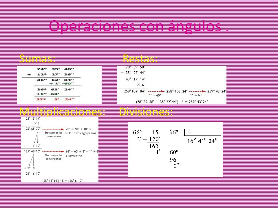 Operaciones con ángulos .
