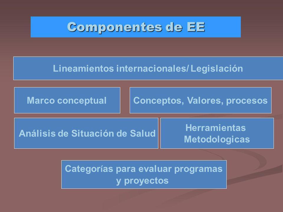 Componentes de EE Lineamientos internacionales/ Legislación