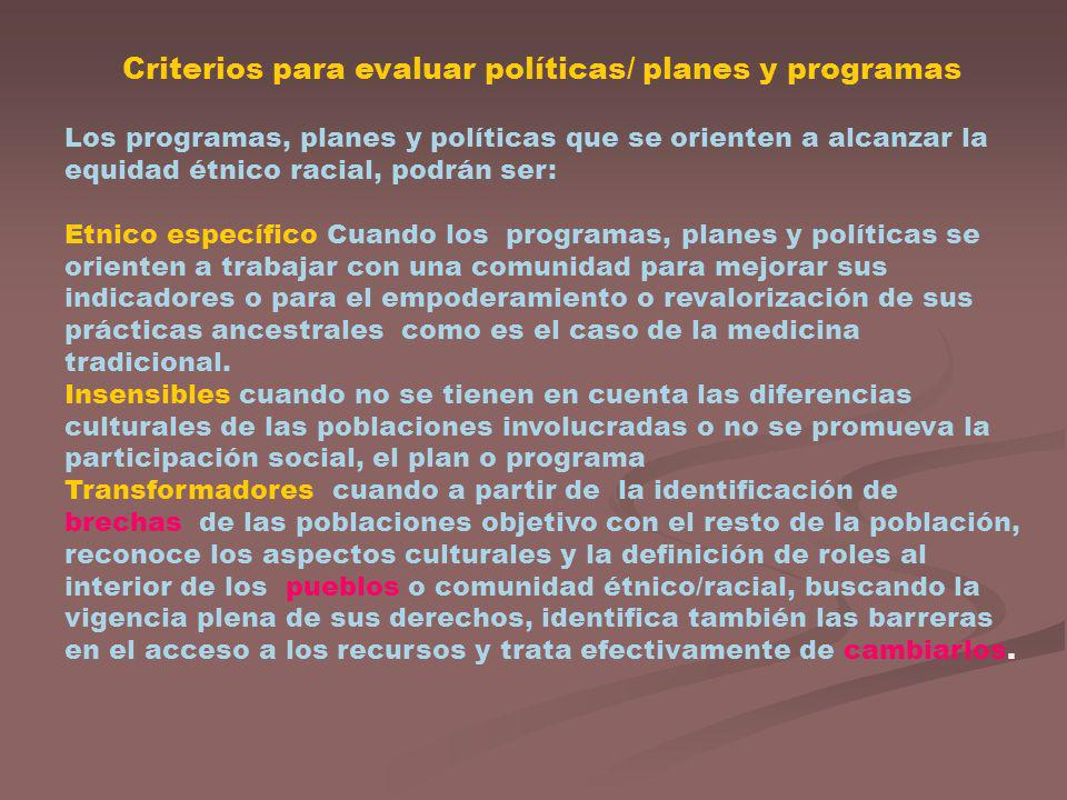 Criterios para evaluar políticas/ planes y programas