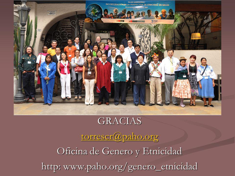 Oficina de Genero y Etnicidad http: www.paho.org/genero_etnicidad