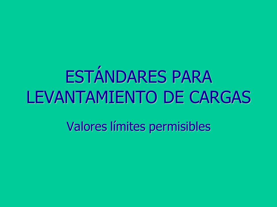 ESTÁNDARES PARA LEVANTAMIENTO DE CARGAS