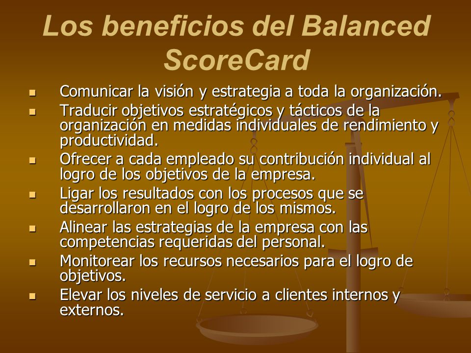 Los beneficios del Balanced ScoreCard