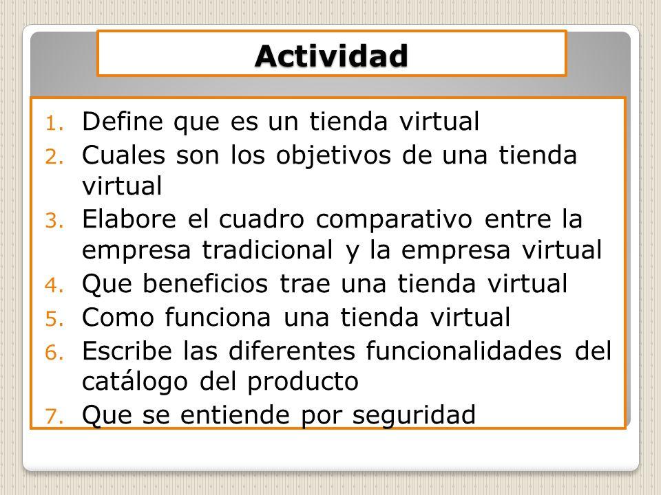 Actividad Define que es un tienda virtual