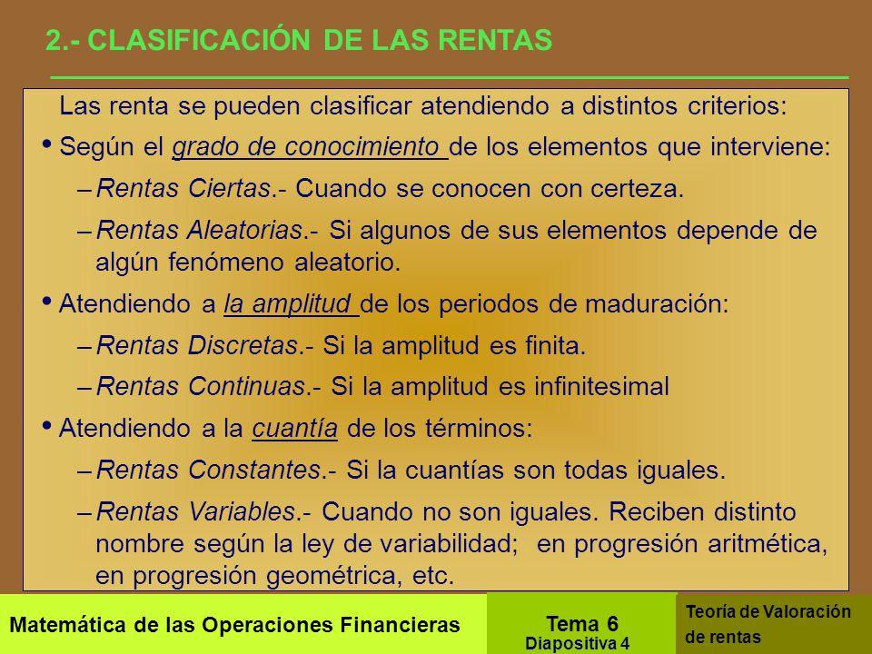 2.- CLASIFICACIÓN DE LAS RENTAS