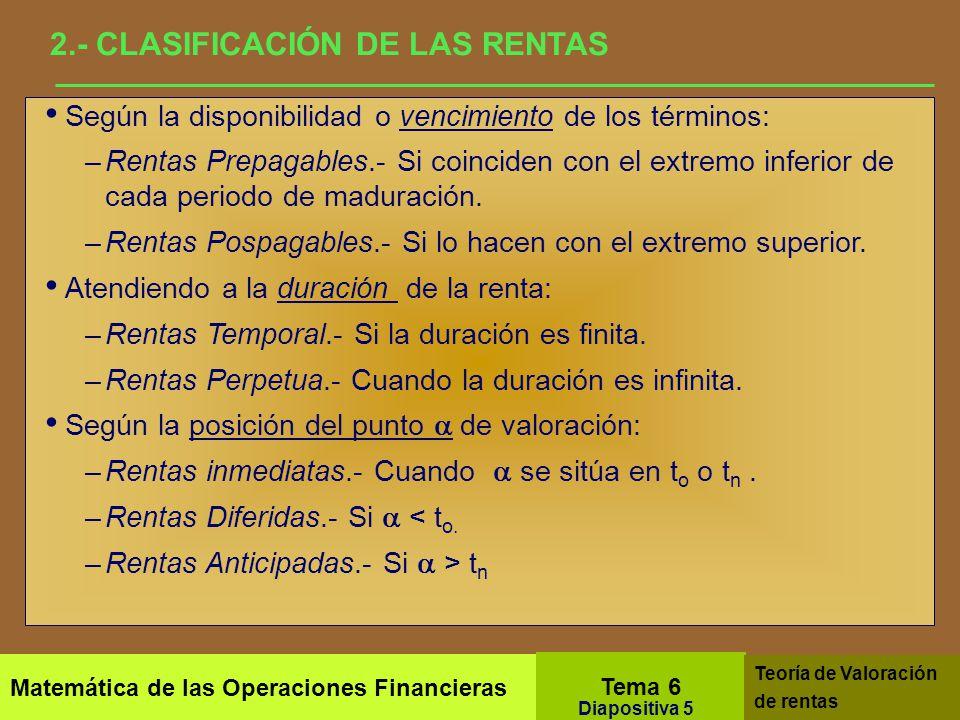 3.- PROPIEDADES DEL VALOR FINANCIERO DE UNA RENTA