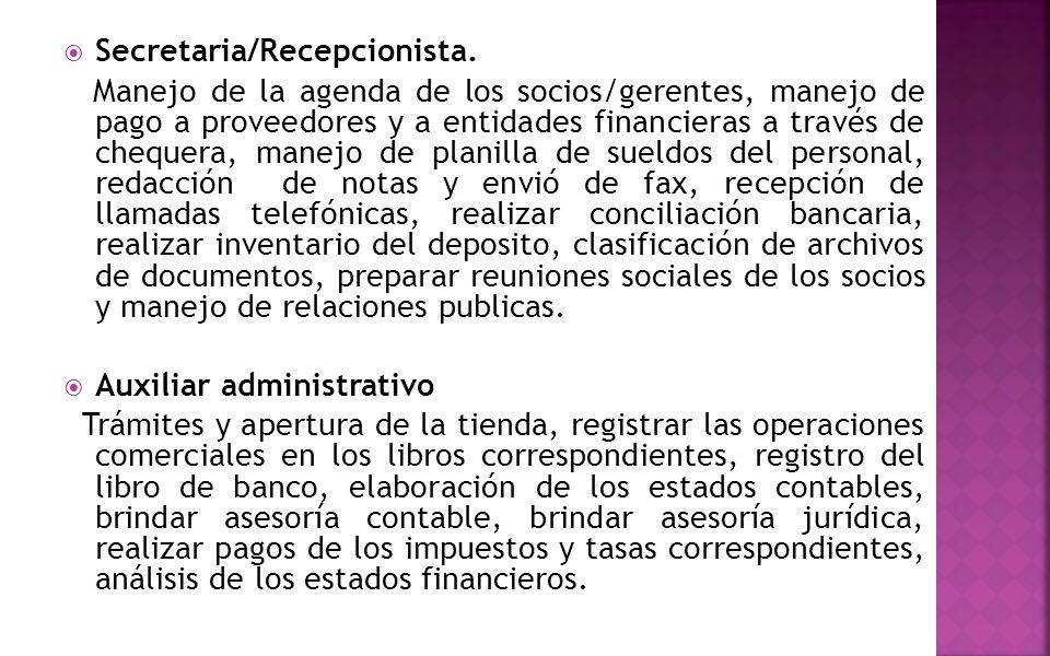 Secretaria/Recepcionista.