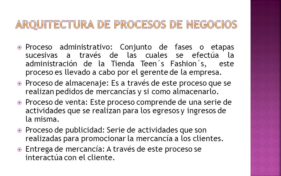 ARQUITECTURA DE PROCESOS DE NEGOCIOS