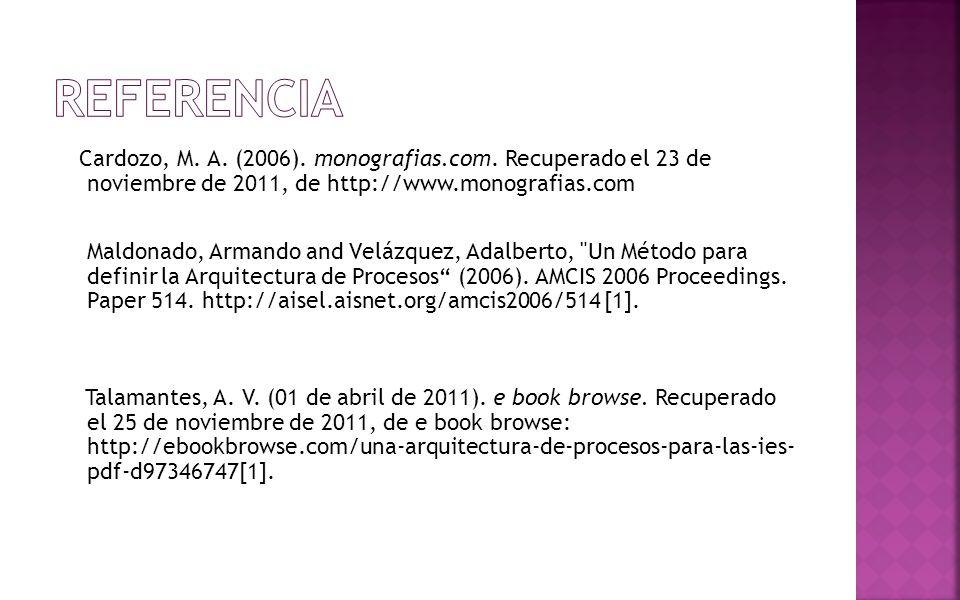 REFERENCIA Cardozo, M. A. (2006). monografias.com. Recuperado el 23 de noviembre de 2011, de http://www.monografias.com.