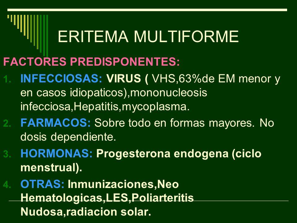 ERITEMA MULTIFORME FACTORES PREDISPONENTES:
