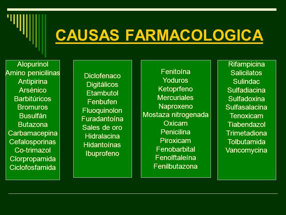 CAUSAS FARMACOLOGICA Alopurinol Amino penicilinas Antipirina Arsénico