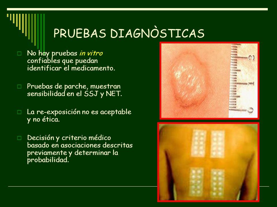 PRUEBAS DIAGNÒSTICAS No hay pruebas in vitro confiables que puedan identificar el medicamento.