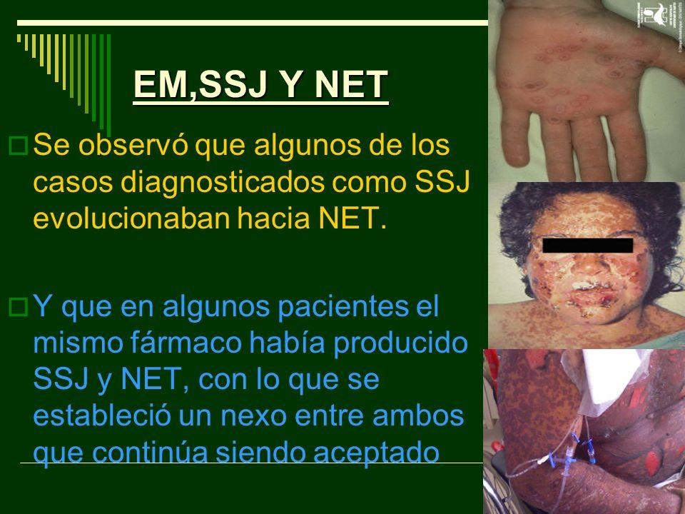 EM,SSJ Y NET Se observó que algunos de los casos diagnosticados como SSJ evolucionaban hacia NET.