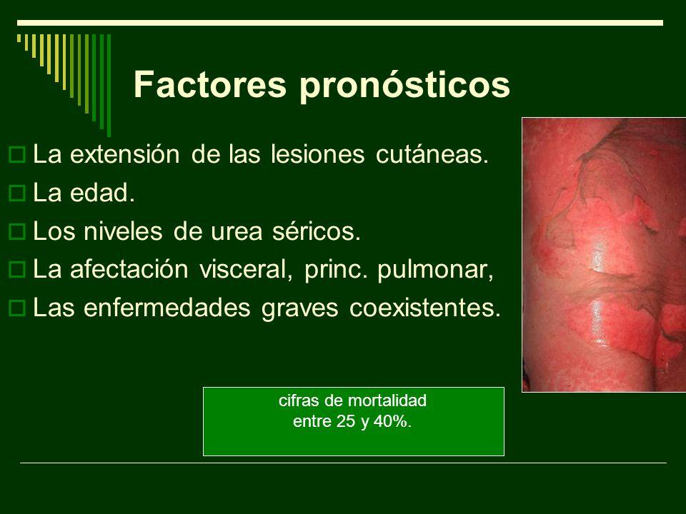 Factores pronósticos La extensión de las lesiones cutáneas. La edad.