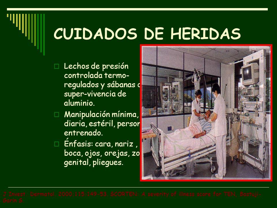 CUIDADOS DE HERIDAS Lechos de presión controlada termo-regulados y sábanas de super-vivencia de aluminio.