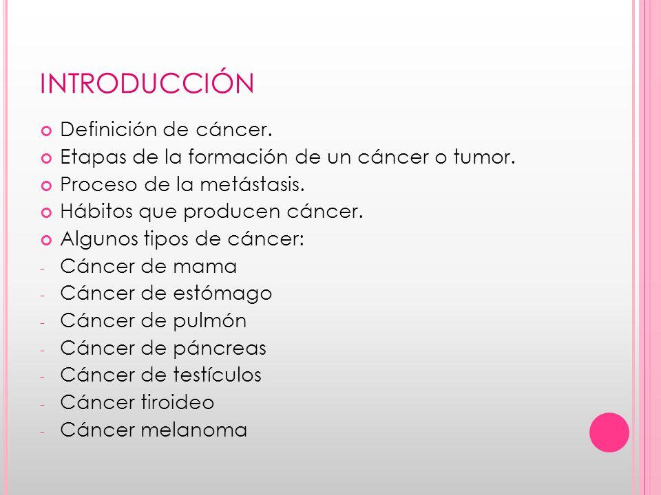 INTRODUCCIÓN Definición de cáncer.