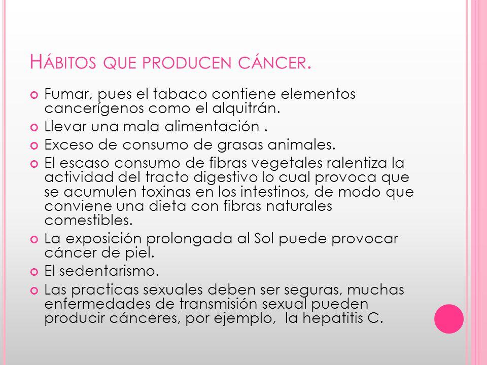 Hábitos que producen cáncer.