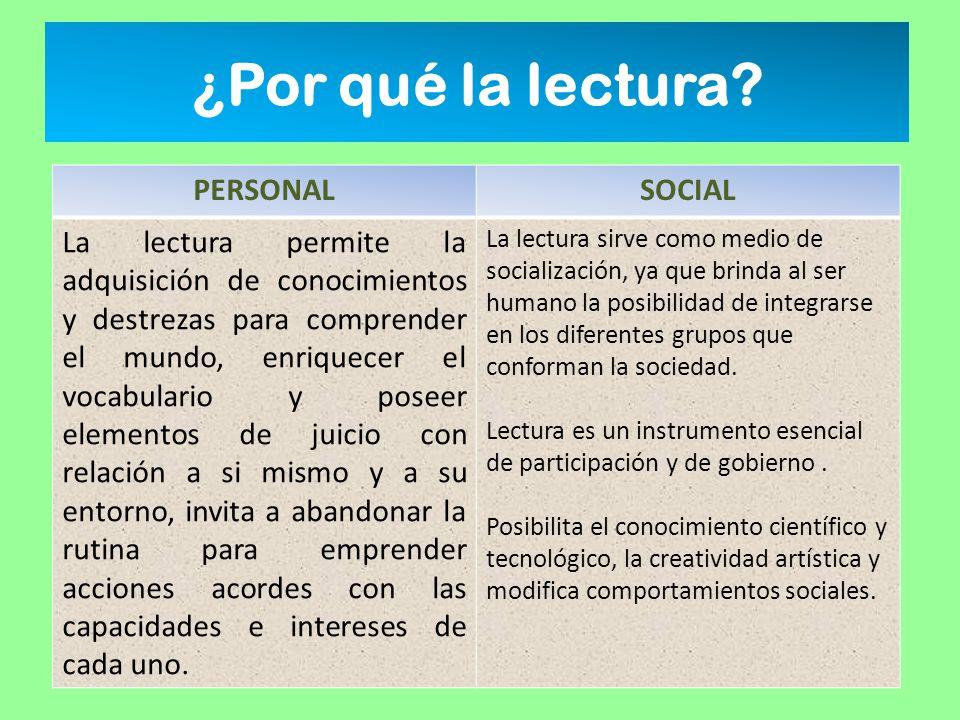 ¿Por qué la lectura PERSONAL SOCIAL