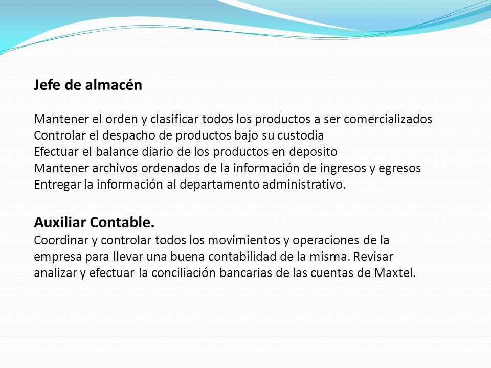 Jefe de almacén Mantener el orden y clasificar todos los productos a ser comercializados. Controlar el despacho de productos bajo su custodia.