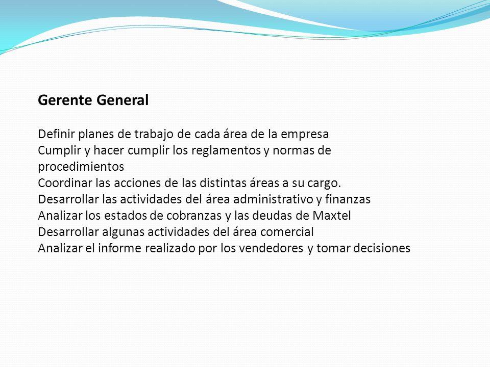 Gerente General Definir planes de trabajo de cada área de la empresa