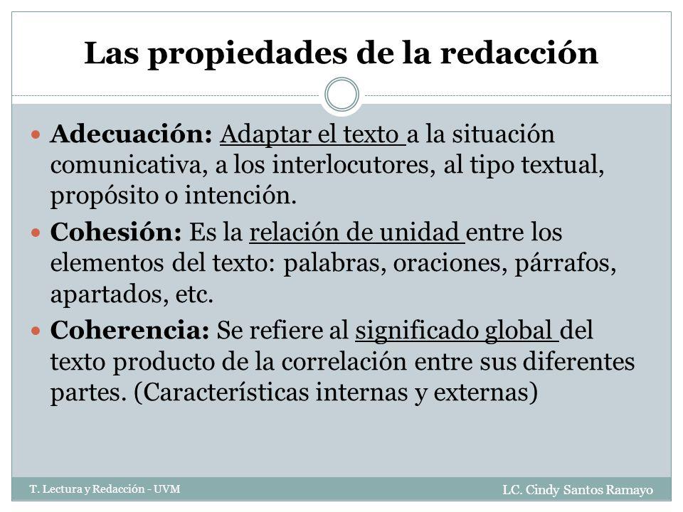Las propiedades de la redacción