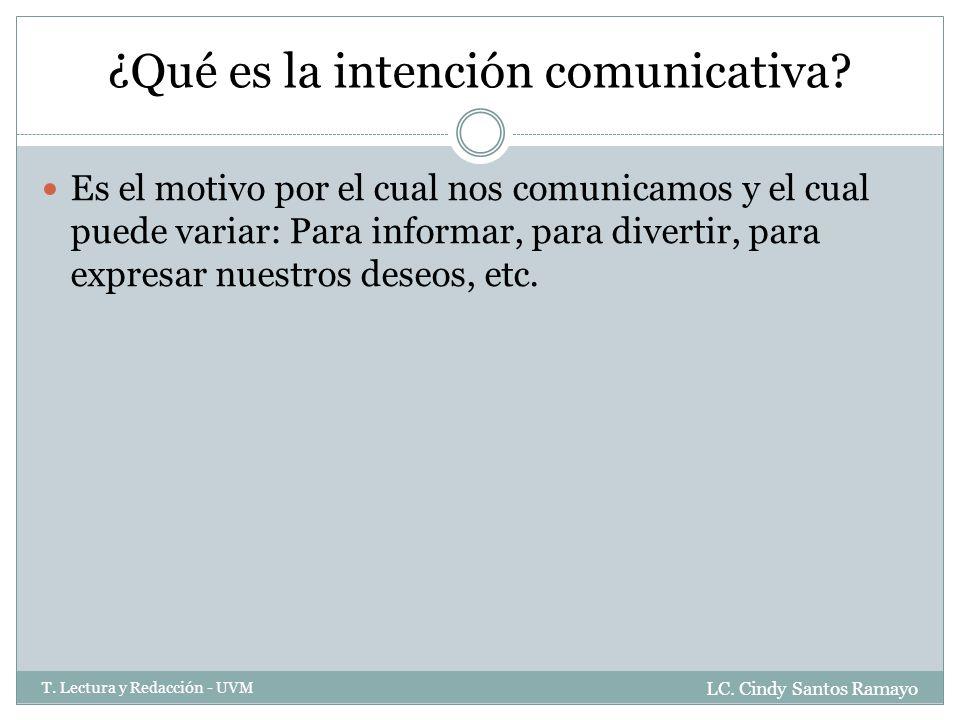 ¿Qué es la intención comunicativa