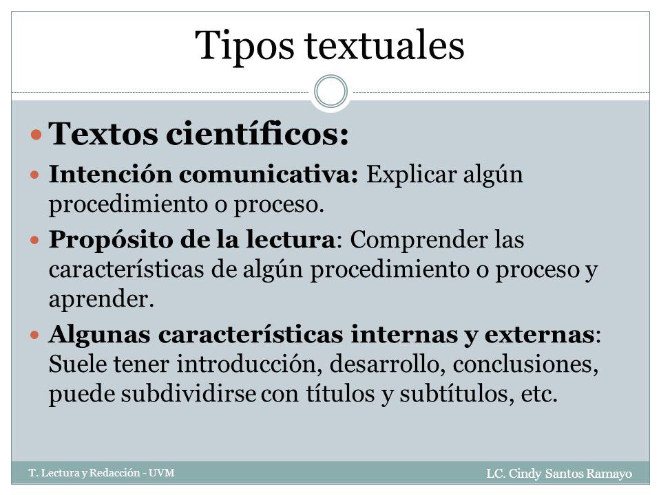 Tipos textuales Textos científicos: