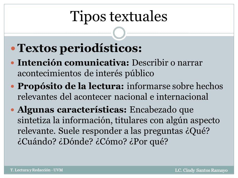 Tipos textuales Textos periodísticos: