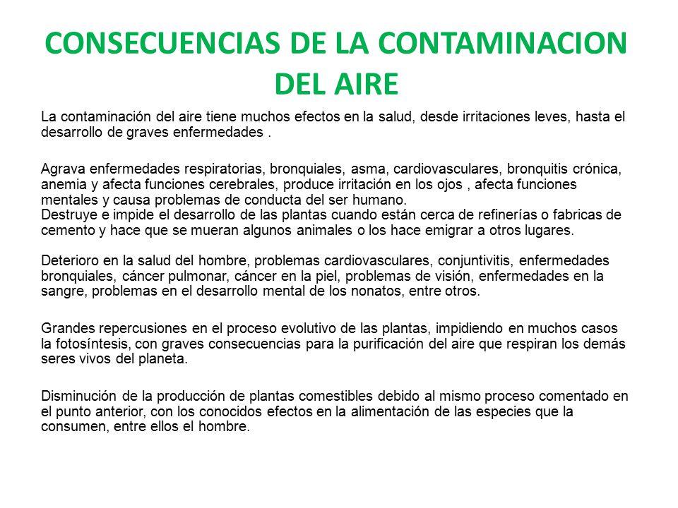 CONSECUENCIAS DE LA CONTAMINACION DEL AIRE