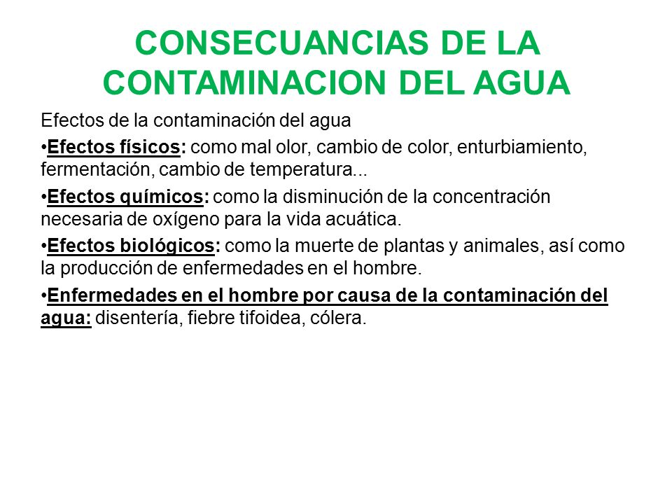 CONSECUANCIAS DE LA CONTAMINACION DEL AGUA