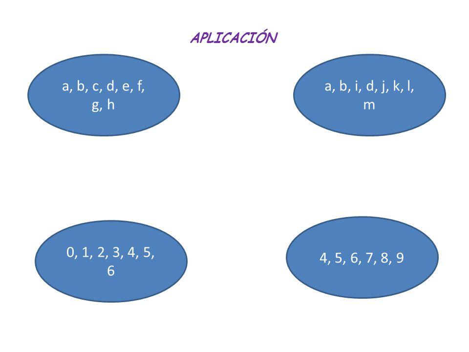 APLICACIÓN a, b, c, d, e, f, g, h a, b, i, d, j, k, l, m 0, 1, 2, 3, 4, 5, 6 4, 5, 6, 7, 8, 9