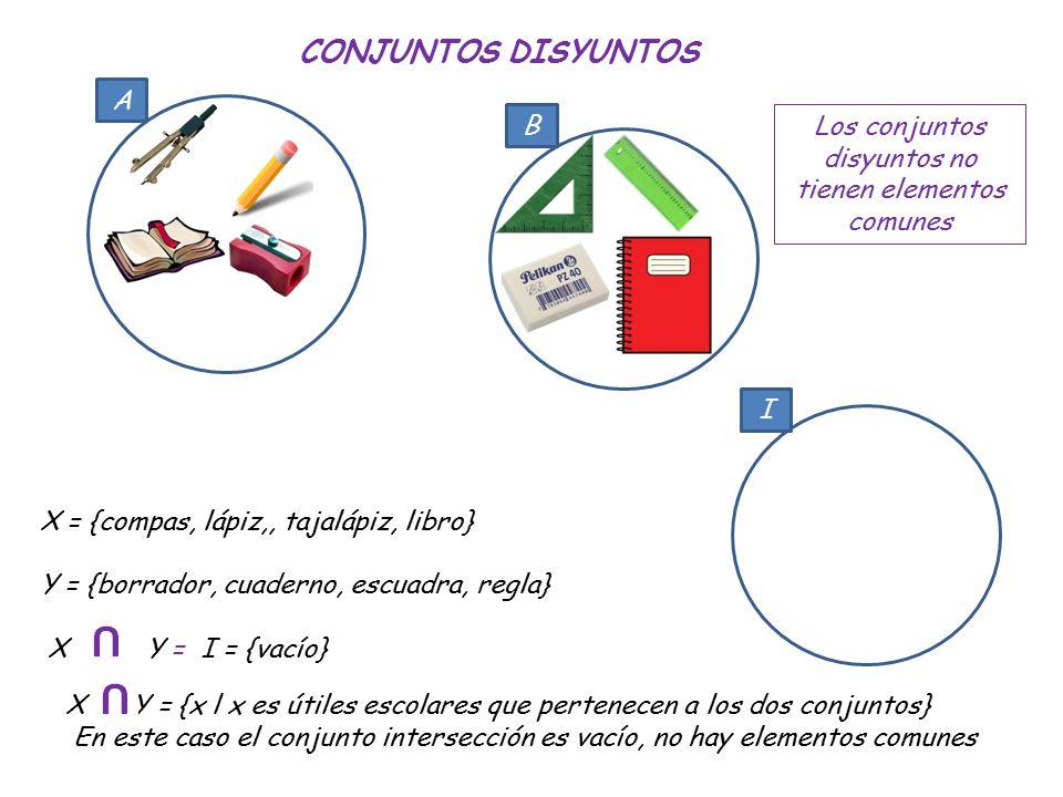 CONJUNTOS DISYUNTOS A B X = {compas, lápiz,, tajalápiz, libro}