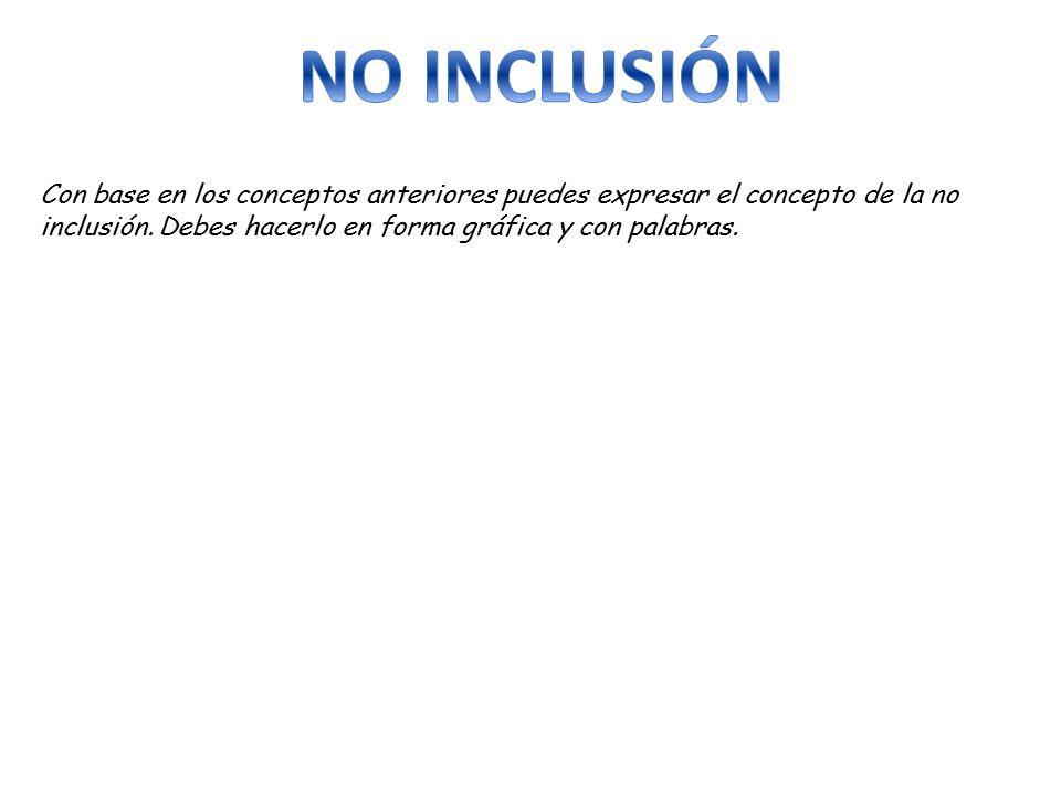NO INCLUSIÓN Con base en los conceptos anteriores puedes expresar el concepto de la no inclusión.
