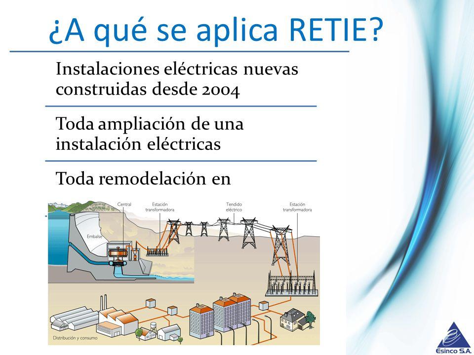 ¿A qué se aplica RETIE Instalaciones eléctricas nuevas construidas desde 2004. Toda ampliación de una instalación eléctricas.