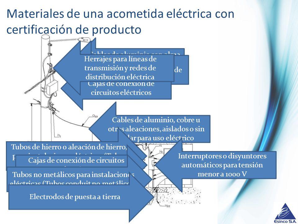 Materiales de una acometida eléctrica con certificación de producto