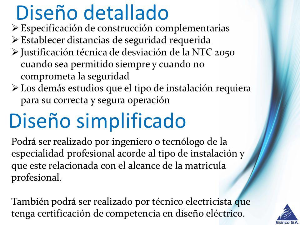 Diseño detallado Diseño simplificado